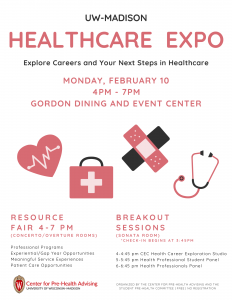Promotion for UW Madison Healthcare Expo on Monday, February 10 from 4-7pm at the Gordon Dining and Event Center